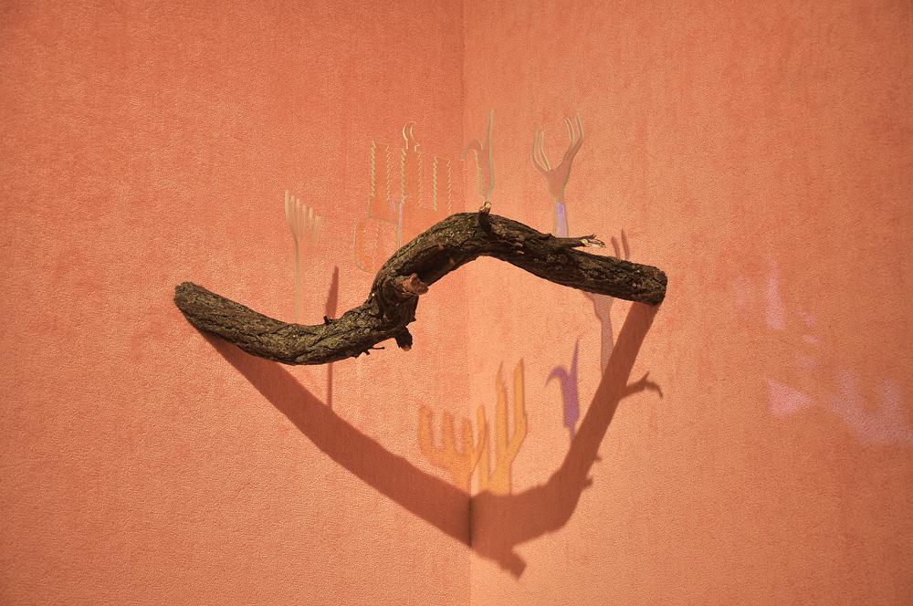 Bazm u Razm (joint 1), 2014 dichroic glass, wood,...