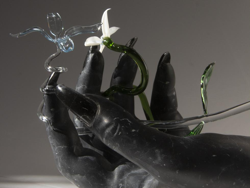 This is a detail image of Kelly Akashi's sculpture...