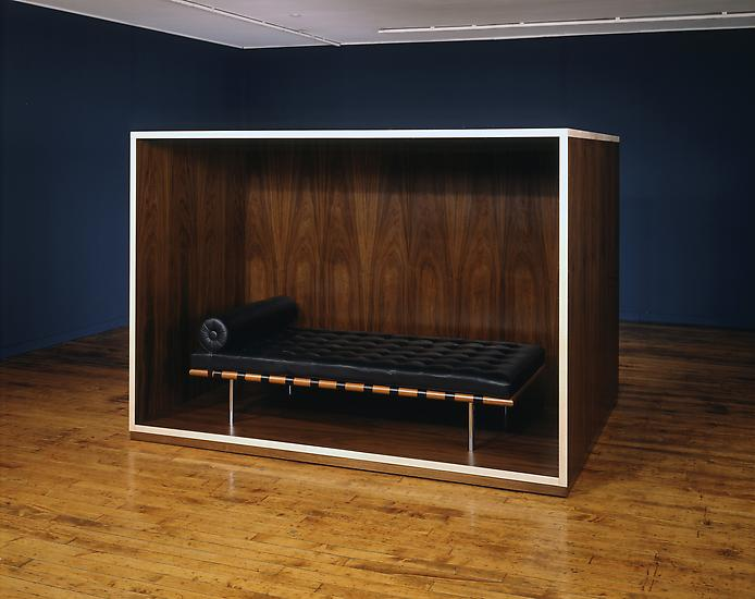 Haim Steinbach Untitled (daybed, coffin) 1989 waln...