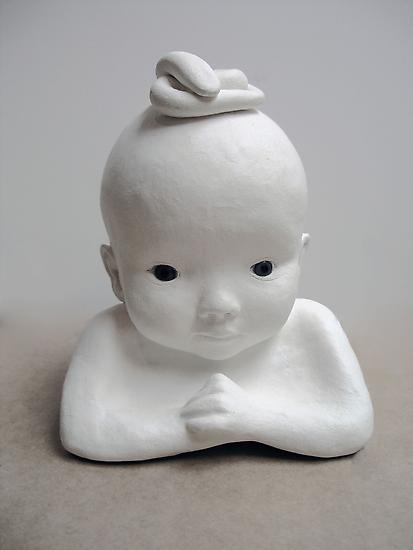Peggy PREHEIM Baby Medusa 1998 White clay, glass d...