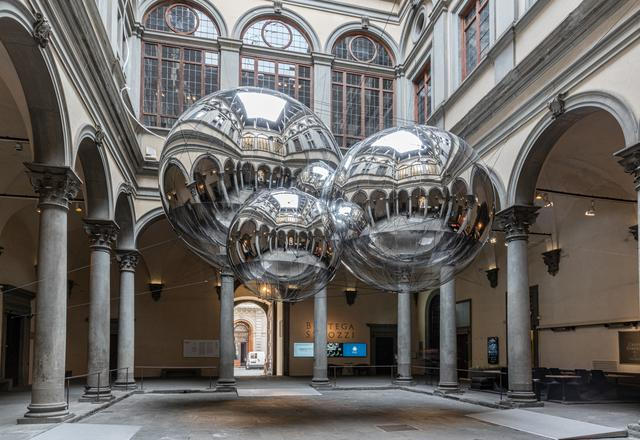 Tomas Saraceno installation view of his exhibition...