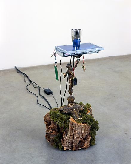 Mat COLLISHAW Bacchus 2005 brass lamp base, moss...