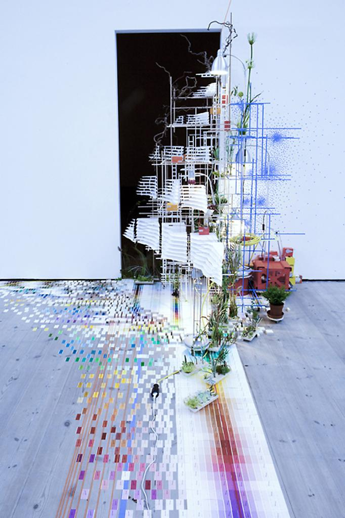 Sarah Sze Tilting Planet (short tower) 2006/2009 m...