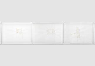Three framed drawings on white paper. Pale brown d...