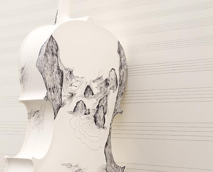 SANDRA CINTO Cello 1 2013 Graphite on wall, perman...