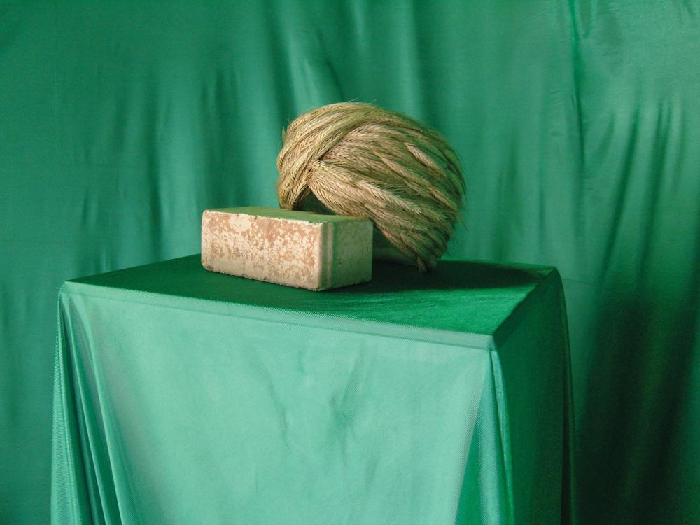 Wheat Mollah, 2011 wheat, cotton, brick, 35 x 45 x...