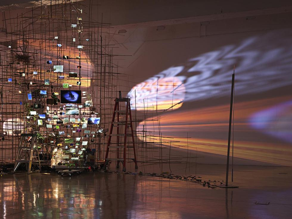 This is an installation image of Sarah Sze exhibit...