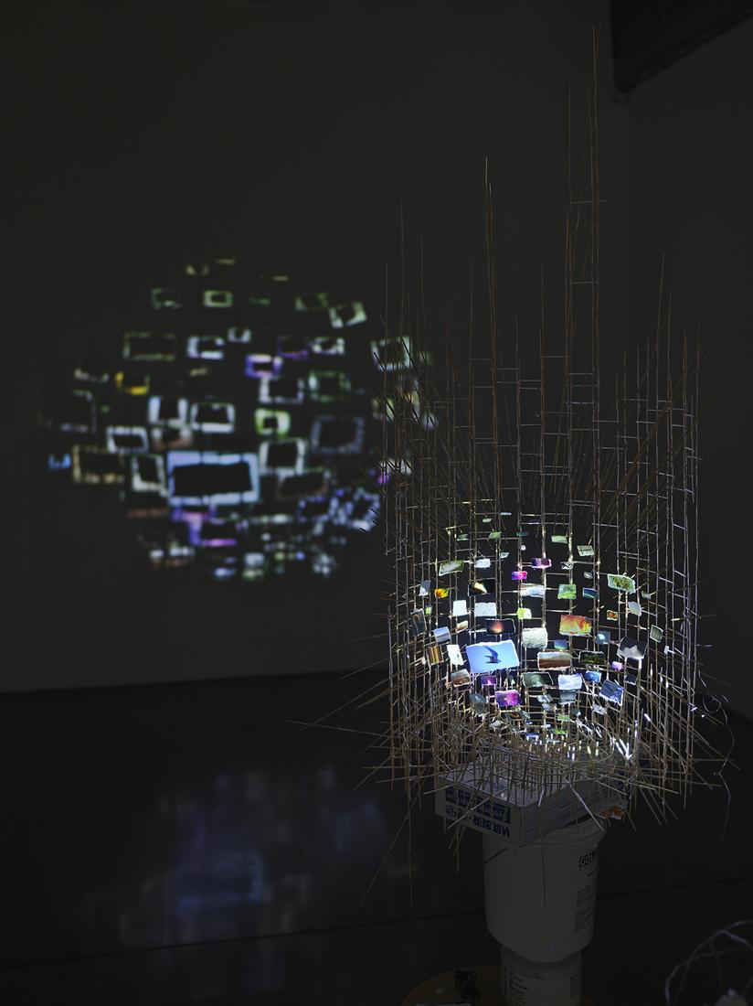 This is an installation detail image of Sarah Sze'...