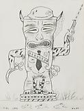 Jeffrey VALLANCE Army Tiki 1982 graphite on paper...