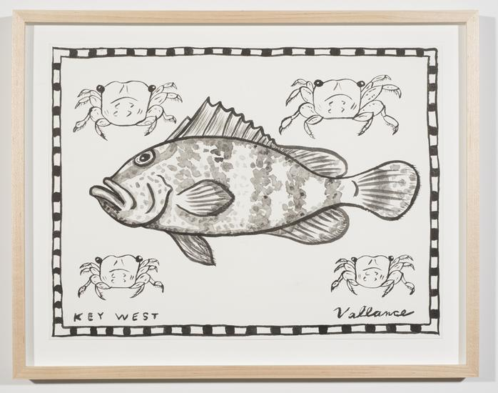 Key West Grouper with Crabs 2013 ink on paper 12 x...