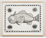Key West Scorpionfish with Sea Urchins 2013 ink on...