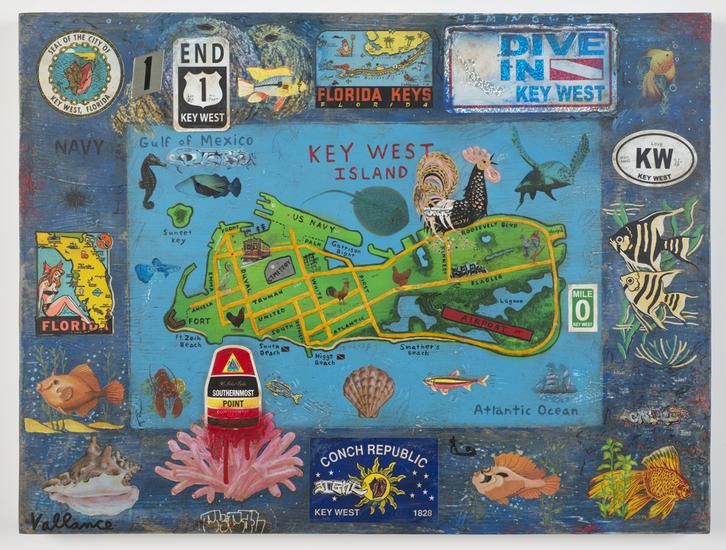 Tourist Map of Key West #1 2013 enamel on board wi...