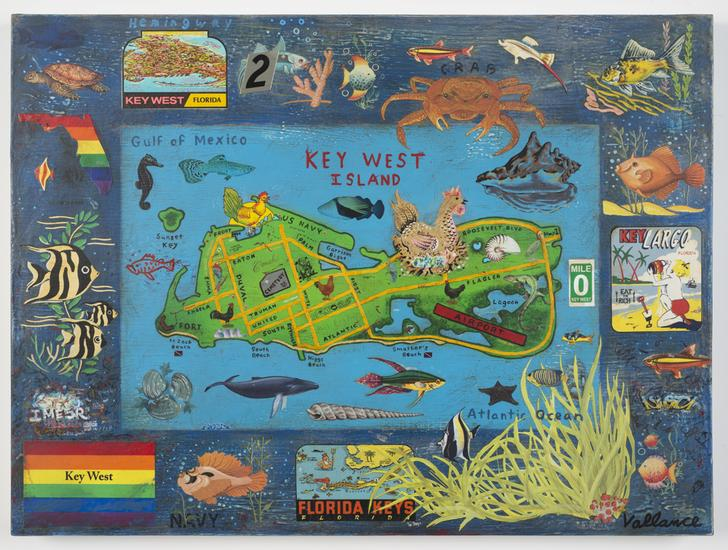 Tourist Map of Key West #2 2013 enamel on board wi...