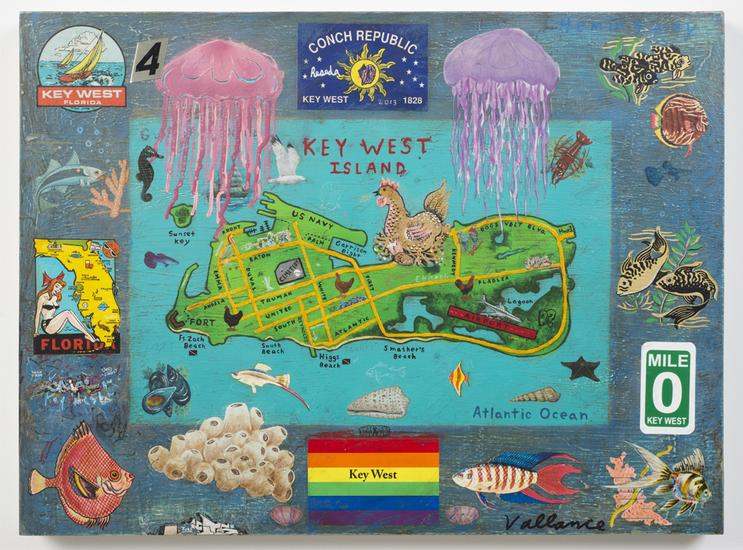 Tourist Map of Key West #4 2013 enamel on board wi...