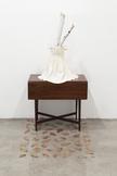 Peggy PREHEIM Beth 2014 antique table, glass hurri...