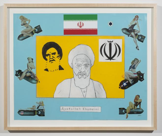 Ayatollah Khomeini 2011 enamel on paper 16 x 20 in...
