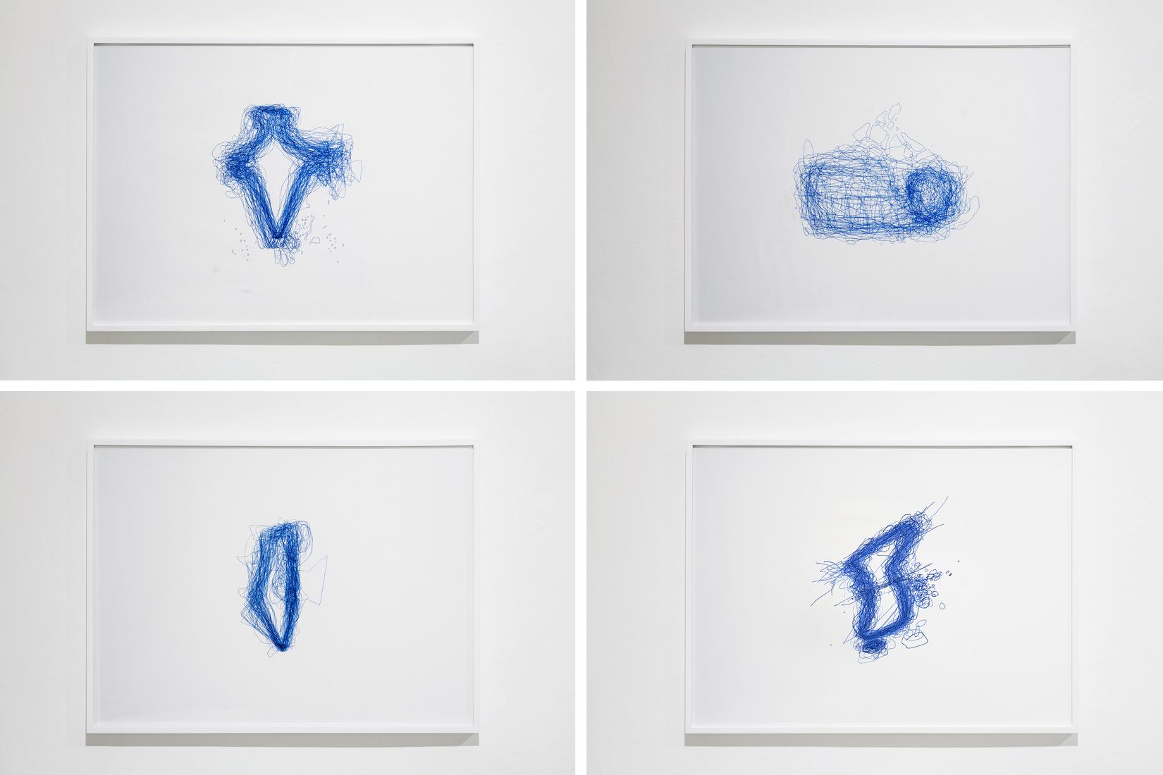 Four framed drawings on white paper. wiggly blue o...